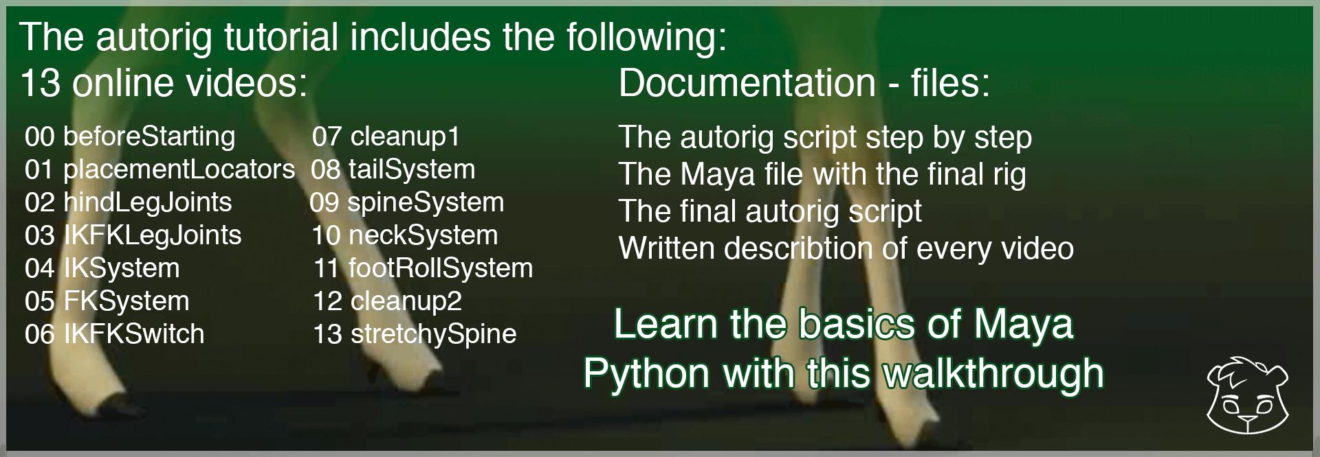 Maya Python Quadruped Autorig Tutorial | Bjørn Blaabjerg